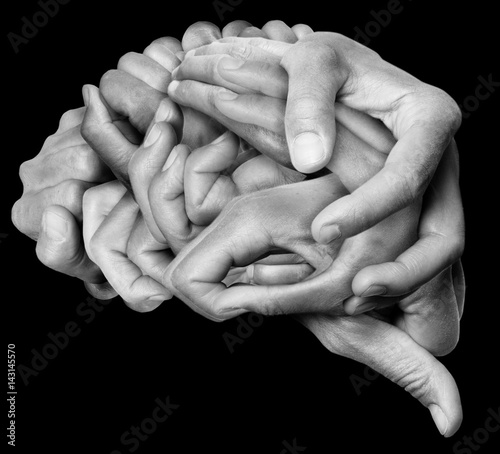 Valokuva  A human brain made ​​with hands, different hands are wrapped together to form a