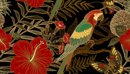Fototapeta Vintage Seamless pattern with exotic plants and parrots.
