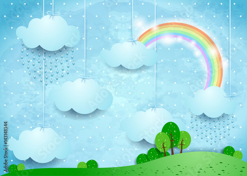 Surreal landscape with hanging clouds and rain
