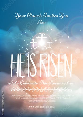 Fotografie, Obraz  He is risen, vector Easter religious poster template