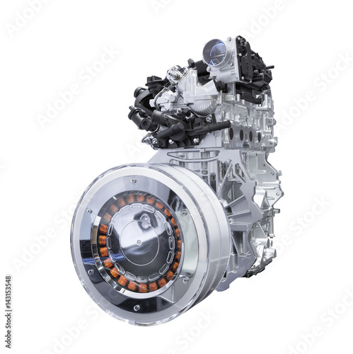 Foto  Hybrid car engine isolated on white background with clipping path