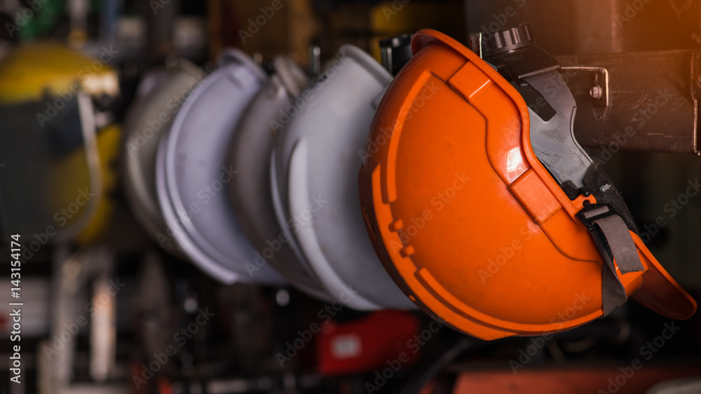 Fototapety, obrazy: Close up safety helmet worker equipment.selective focus.