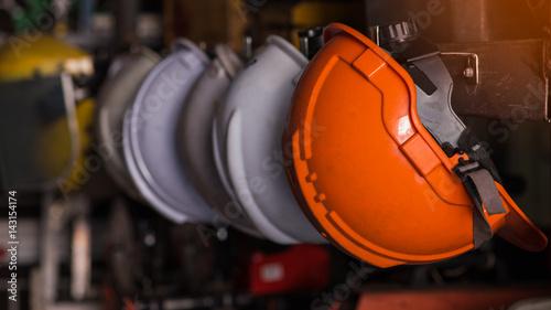 Obraz Close up safety helmet worker equipment.selective focus. - fototapety do salonu