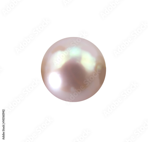 Single lustrous pale pink pearl isolated on white