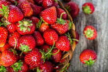 Fresh Strawberries In The Basket, Fruits On Farmer Market Table