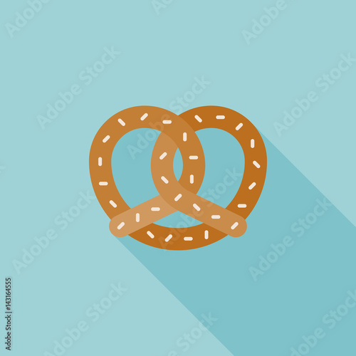 Photo  Pretzel icon, flat design vector with long shadow