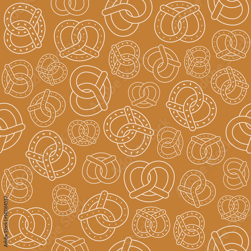 Photo  Seamless pattern of outline pretzel, for Oktoberfest backdrop