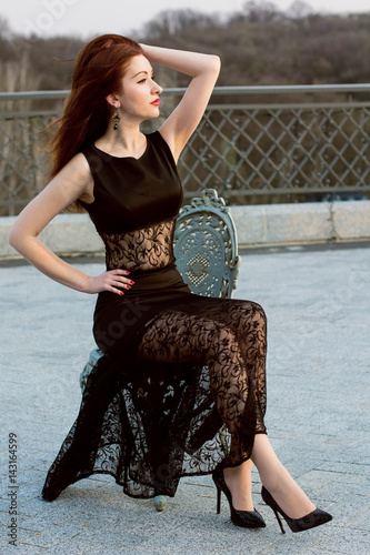 Beautiful Young Redhead Woman In Black Theatre Lace Dress Glitter