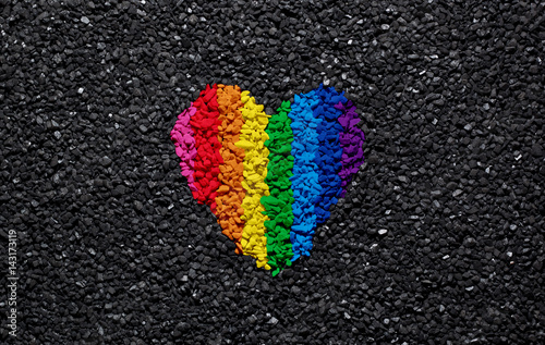 Rainbow Heart On Black Background Gravel And Shingle LGBT Colors Love Wallpaper
