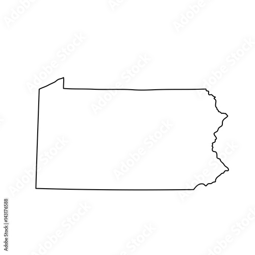 map of the U.S. state of Pennsylvania Fototapeta
