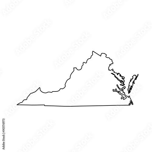 Pinturas sobre lienzo  map of the U.S. state of Virginia