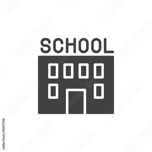 School building icon vector, filled flat sign, solid
