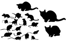 Vector Illustration Silhouette Of Cats And Mice