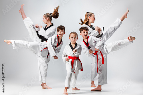 Photo The studio shot of group of kids training karate martial arts