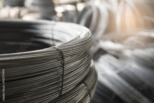 Fotografía  Stainless Steel wire Rolls in construction site