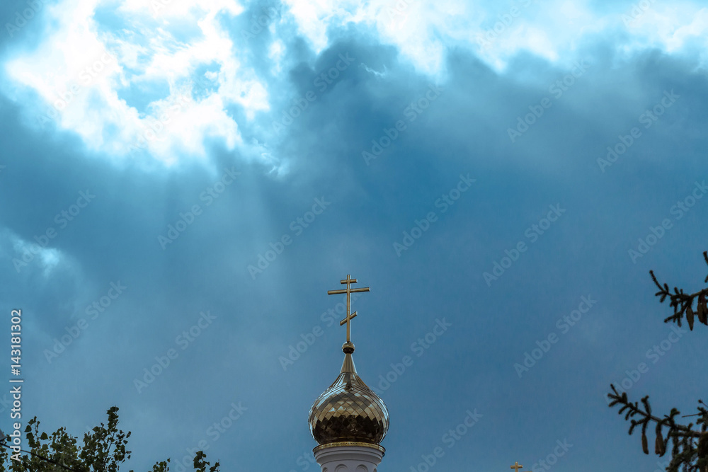 Fototapety, obrazy: Orthodox cross at church rooftop against blue sky