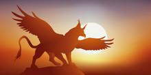 Griffon - Mythologie - Aigle - Lion - Imaginaire - Fantastique - Légendaire -  Coucher De Soleil