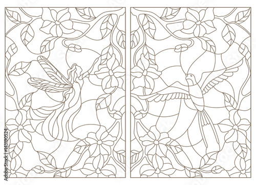 Set Contour Illustrations In The Stained Glass Style Bird And