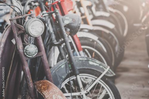 Fotobehang Fiets Close up detail of motor-bicycle. vintage effect.