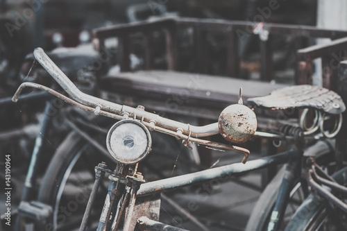 Deurstickers Fiets Detail of a Vintage Bike HandleBar with Background Bokeh