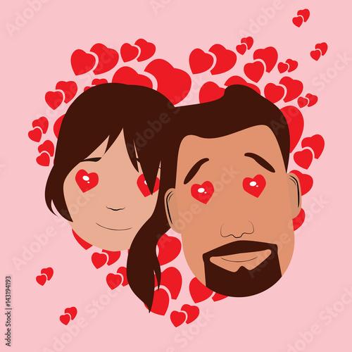 Fototapeta Isolated avatar of a happy couple on a colored background, Vector illustration obraz na płótnie