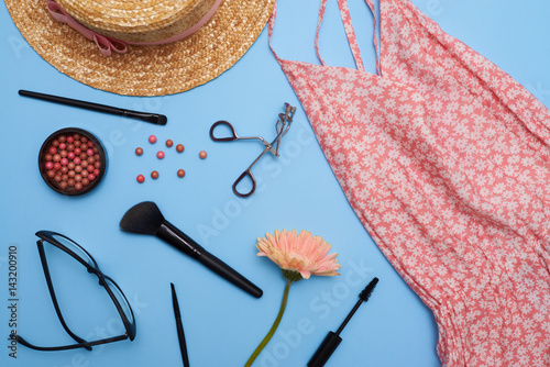 Stampe  Flat lay set of female clothes and accessories