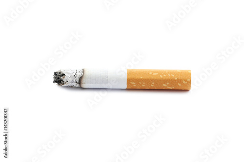 Fotografija  Cigarette butt with ash isolated on a white