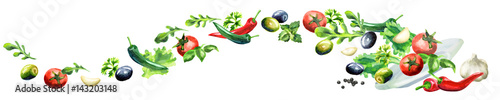 Salad panoramic image hand drawn watercolor