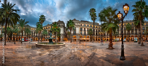 Foto op Canvas Barcelona Placa Reial in the Morning, Barcelona, Catalonia, Spain