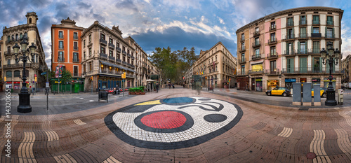 Foto auf Gartenposter Barcelona Panorama of La Rambla Street with Joan Miro Mosaic on the Floor, Barcelona, Catalonia, Spain