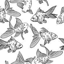 Vector Seamless Pattern With Image Of A Fishes. Goldfish And Perch. Linear Fish For Coloring Books.