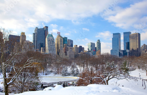 Photo Stands New York Manhattan. New York City skyline