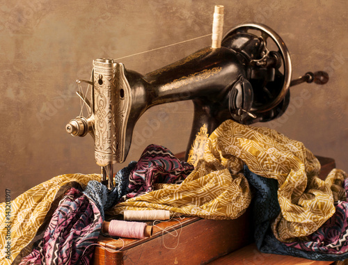 Old Sewing Machine Fabric And Sewing Thread In Vintage Style Buy Classy Vintage Sewing Machine Fabric