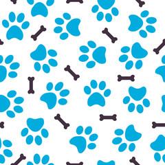 Fototapeta na wymiar Seamless pattern of blue animal paws with bones