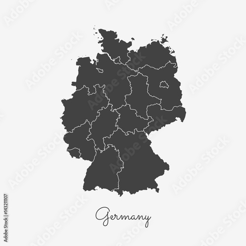 Germany region map: grey outline on white background. Detailed map ...