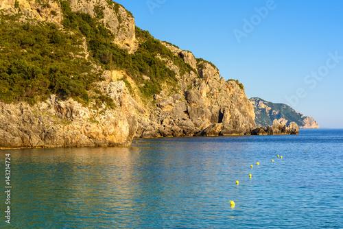 Fotobehang Kust The northwest coast of Corfu. The bay of Palaiokastritsa. Greece.