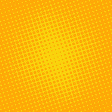 Background Halftone Circle Vector. Orange Dots On Yellow Background. Halftone Effect. Comic Book Retro Print.