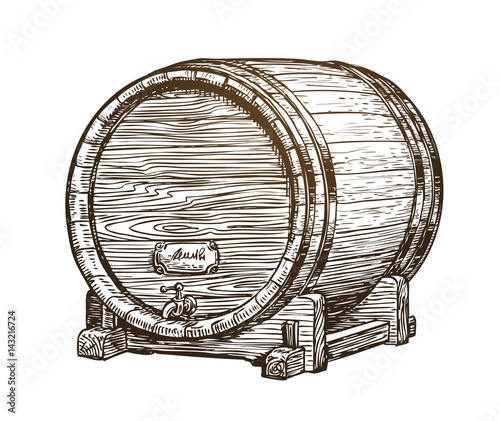 Fotografia Hand drawn vintage wooden wine cask