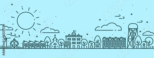 Cuadros en Lienzo Small Town in Spring Scene - Outlined vectors with Blue background