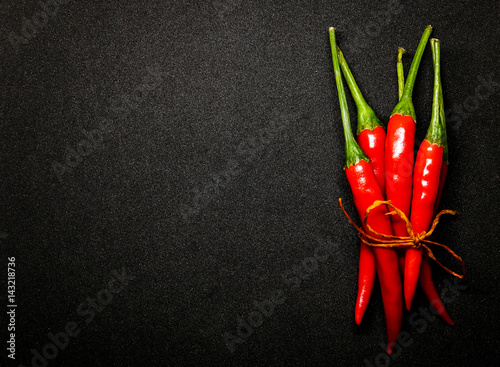 Recess Fitting Spices Red chili peppers on black background, Fresh hot chili peppers.
