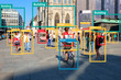 canvas print picture - Machine Learning object detection and artificial intelligence concept. Application detect object in picture. (Blur human face)