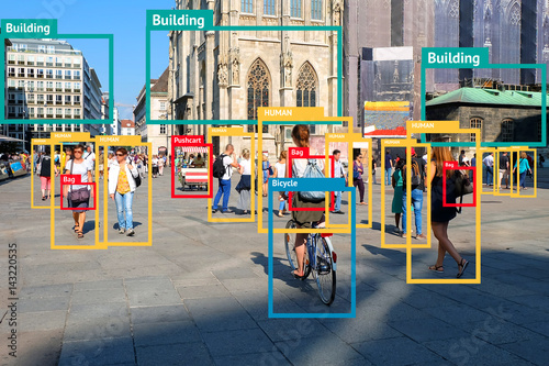 Machine Learning object detection and artificial intelligence concept Фотошпалери