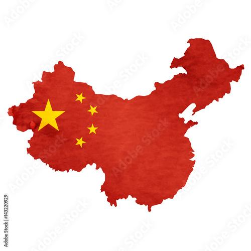 Tuinposter China 中国 地図 国旗 アイコン