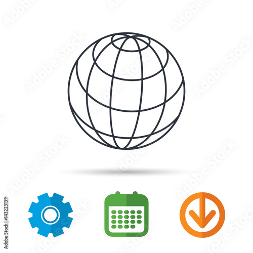Globe icon  World travel sign  Internet network symbol