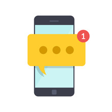 Smartphone With New Message On Screen. Chat, Sms, Tweet, Instant Messaging, Mobile Messenger Concepts For Web Sites, Web Banners, Printed Materials. Flat Illustration Isolated On White Background.