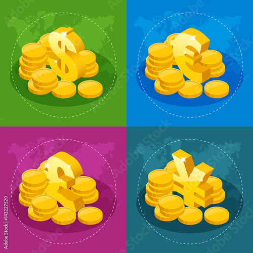 фотография  Isometric set of US Dollar, Euro, Great Britain Pound, Japanese Yen for app icon