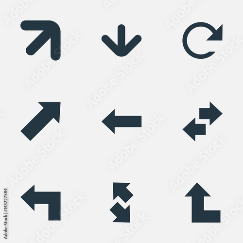 Vector Illustration Set Of Simple Indicator Icons. Elements Left Direction, Raising-Falling, Pointer Up And Other Synonyms Right, Upper And Down. Wall mural