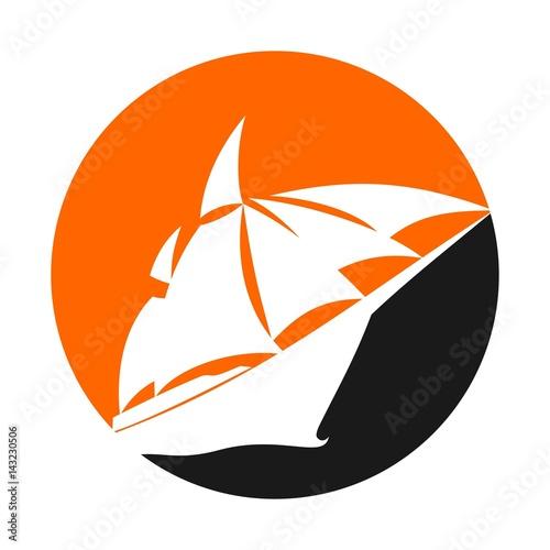 ship and sail logo vector. Poster
