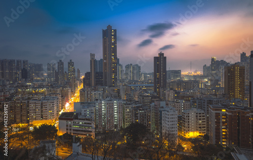 Tuinposter Bangkok Downtown of Hong Kong, high density, night view