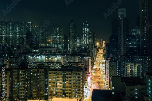 Downtown of Hong Kong, high density, night view Poster